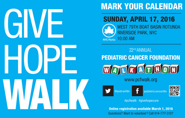 Save the Date for the 21st Annual Pediatric Cancer Foundation Walkathon