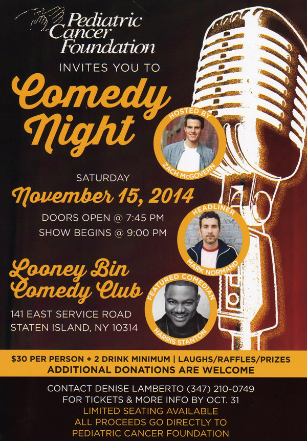 Comedy night benefitting Pediatric Cancer Foundation