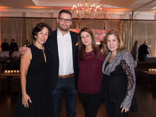 l to r, PCF President Bonnie Shyer, Paul J. Jimenez, Joanna Jimenez, PCF Chairman Cheryl Rosen, were in attendance at Pediatric Cancer Foundation's Rock the Cure Gala on Nov. 2. (Photo: Adam William Cohen)