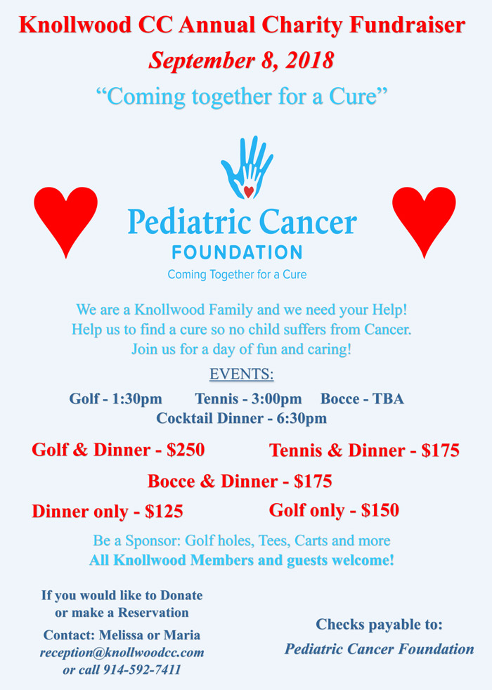SAVE THE DATE Saturday, September 8th Golf Tournament & Dinner to benefit Pediatric Cancer Foundation